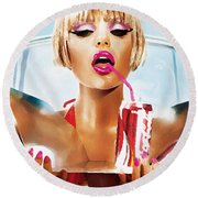 Sophie Monk Painting Round Beach Towel