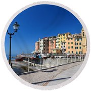 Sori Waterfront. Italy Round Beach Towel