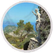 Sorrento Peninsula From Mt Solaro Capri  Round Beach Towel