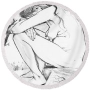 Sorrow After Vincent Van Gogh  Round Beach Towel