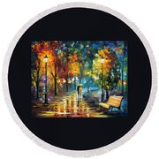 Soul Of The Rain - Palette Knife Oil Painting On Canvas By Leonid Afremov Round Beach Towel