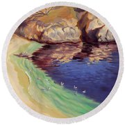 Soulful Sanctuary Point Lobos Round Beach Towel