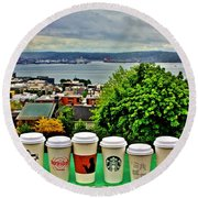 Sound Coffees Round Beach Towel by Benjamin Yeager