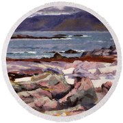 Sound Of Iona  The Burg From The North Shore Round Beach Towel