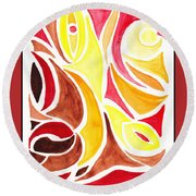 Sounds Of Color Doodle 2 Round Beach Towel