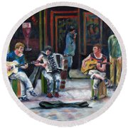 Sounds Of Paris Round Beach Towel