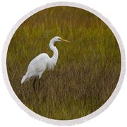 Soundside Park Topsail Island Egret Round Beach Towel