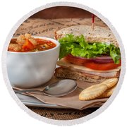 Soup And Sandwich Round Beach Towel