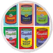 Soup Cans Round Beach Towel