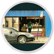 Soups's On Montreal's Favorite Fast Food Road Side Attractions Rue St. Denis Resto Urban City Scene  Round Beach Towel