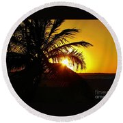 Sour Sunset Round Beach Towel