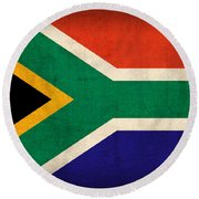 South Africa Flag Vintage Distressed Finish Round Beach Towel