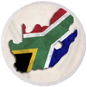 South Africa Map Art With Flag Design Round Beach Towel