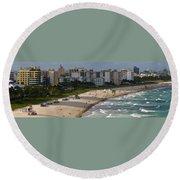 South Beach Afternoon Round Beach Towel