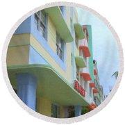 South Beach Facades Round Beach Towel