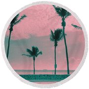 South Beach Miami Tropical Art Deco Five Palms Round Beach Towel