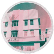 South Beach Miami Leslie Tropical Art Deco Hotel Round Beach Towel