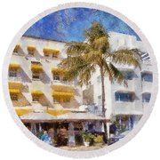 South Beach Miami Art Deco Buildings Round Beach Towel