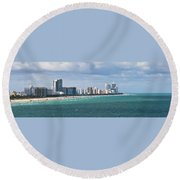 South Beach On A Summer Day Round Beach Towel