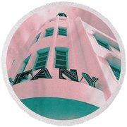 South Beach Miami Tiffany Hotel Tropical Art Deco Round Beach Towel