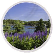 South Bristol And Lupine Flowers On The Coast Of Maine Round Beach Towel
