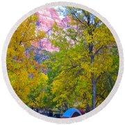South Campground In Zion Np-ut Round Beach Towel