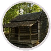 South Carolina Log Cabin Round Beach Towel