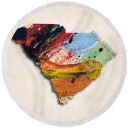 South Carolina Map Art - Painted Map Of South Carolina Round Beach Towel