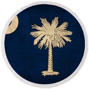 South Carolina State Flag Art On Worn Canvas Round Beach Towel