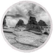 South Coyote Buttes Monochrome 1 Round Beach Towel