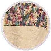 South Dakota Map Vintage Watercolor Round Beach Towel