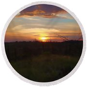 South Dakota Sunset 2 Round Beach Towel