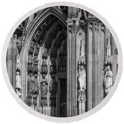 South Entrance Detail Cologne Cathedral Round Beach Towel