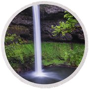South Falls - Silver Falls State Park - Oregon Round Beach Towel