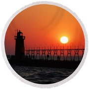 South Haven Lighthouse At Sunset 1 Round Beach Towel