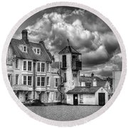South Lookout Tower Aldeburgh Black And White Round Beach Towel