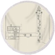 South Manitou Island Lighthouse Number 2 Round Beach Towel