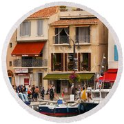 South Of France Fishing Village Round Beach Towel