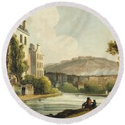 South Parade From Bath Illustrated Round Beach Towel by John Claude Nattes
