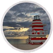 South Pointe Park Lighthouse Round Beach Towel