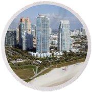 South Pointe Park Miami Beach Florida Round Beach Towel