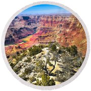 South Rim From The Butte Round Beach Towel by Robert Bales