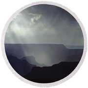 South Rim Grand Canyon Storm Clouds And Light On Rock Formations Round Beach Towel