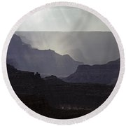 South Rim Grand Canyon Storm Clouds And Sunray Light On Rock For Round Beach Towel