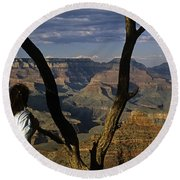 South Rim Grand Canyon Sunset Light On Rock Formations With Woma Round Beach Towel