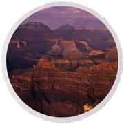 South Rim Grand Canyon Taken Near Yavapai Point Sunset Light On  Round Beach Towel
