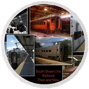 South Shore Line Railroad Collage Round Beach Towel
