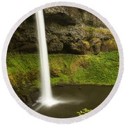 South Silver Falls 3 Round Beach Towel