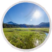 South Sister Wide Angle Round Beach Towel