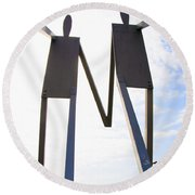 South Street Stick Men Statue Round Beach Towel